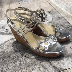 Boden Silver & Cork Wedges
